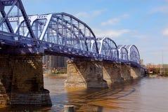Purpurrote Leute-Brücke lizenzfreies stockfoto