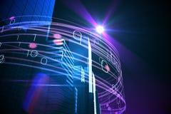 Purpurrote Lichtstrahlen über Wolkenkratzern Lizenzfreies Stockfoto