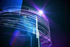 Purpurrote Lichtstrahlen über Wolkenkratzern Lizenzfreie Stockfotos