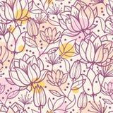 Purpurrote Linie Kunst blüht nahtloses Muster Stockbilder
