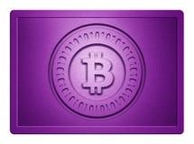 Purpurrote metallische Bitcoin-Platte lizenzfreies stockfoto
