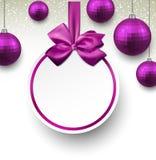 Purpurrote Papierrunden-Feiertagsaufkleber. vektor abbildung