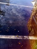 Purpurrote Reflexionen auf der Straße Lizenzfreie Stockbilder