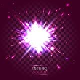 Purpurrote runde Explosion der Lichteffektlinse auf transparentem checkere Lizenzfreies Stockfoto