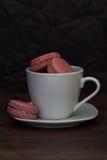 Purpurrote selbst gemachte französische macrons in der weißen Teeschale Lizenzfreie Stockfotos