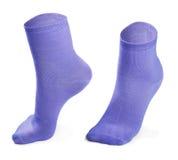 Purpurrote Socken lokalisiert auf weißem Hintergrund Lizenzfreie Stockfotografie