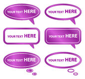 Purpurrote Sprache-Luftblasen Stockbilder