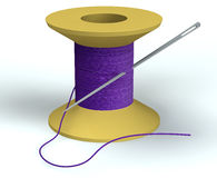 Purpurrote Spule mit Nadel Stockfotografie