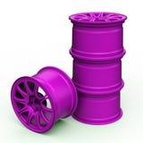 Purpurrote Stahlscheiben für eine Illustration des Autos 3D lizenzfreie stockfotos