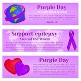 Purpurrote Tagesfahnen mit Kugel, Band und Herzen für Grußkarte, Anzeige, Förderung, Plakat, Blog, Artikel, Webseite Lizenzfreie Stockfotos