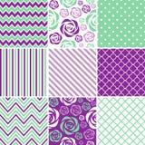 Purpurrote u. tadellose nahtlose Muster Stockbilder
