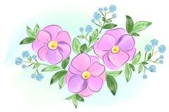 Purpurrote und blaue Blumen des Aquarells mit Blättern Stockfoto