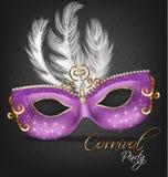 Purpurrote verzierte Maske mit Federn Vektor realistisch Stilvolle Maskerade-Partei Mardi Gras-Karteneinladung Eine Designschablo stock abbildung