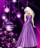 Purpurrote Weihnachtsfeiertags-Frau Lizenzfreies Stockbild