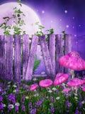 Purpurrote Wiese mit einem Zaun Stockbild