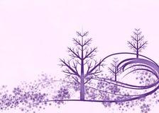 Purpurrote Winter-Szene auf rosafarbenem Hintergrund Stockfotos