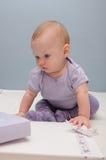 Purpurrote zuerst sitzende Babys Lizenzfreies Stockbild