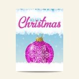 Purpurroter Ball der frohen Weihnachten Weihnachtsmit silberner Schneeflocke lizenzfreie abbildung
