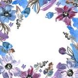 Purpurroter Blumenrahmen des netten Aquarells Handgemalter Blumenhintergrund einladung Abstraktionsabbildung für Hochzeit Kaninch Lizenzfreies Stockbild