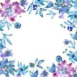 Purpurroter Blumenrahmen des netten Aquarells Handgemalter Blumenhintergrund einladung Abstraktionsabbildung für Hochzeit Kaninch Stockfoto