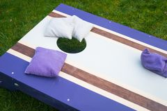 Purpurroter Cornhole Bean Bag Toss Game Lizenzfreie Stockbilder
