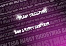 Purpurroter glänzender Weihnachtstext Stockbild