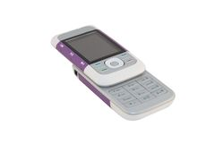 Purpurroter Handy Stockfoto