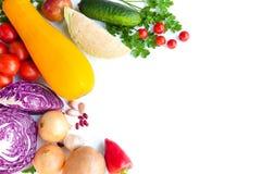 Purpurroter Kohl, Zwiebeln, Zucchini, Tomaten und anderes Gemüse lizenzfreie stockbilder