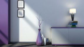 Purpurroter leerer Innenraum mit Vasen und Lampe Stockfotos