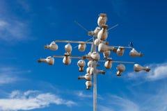Purpurroter Martin-Progne subis Nester gemacht vom Ökologen im Hügel-Land, Texas, um zu helfen, die seltenen Schwalbenspezies zu  lizenzfreie stockfotos