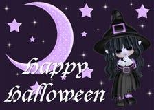 Purpurroter Mond u. Sterne und Halloween-Hexe Stockfotos