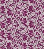 Purpurroter nahtloser Blumendamasthintergrund Stockbilder