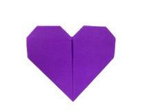 Purpurroter Papierherz Origami Stockfoto
