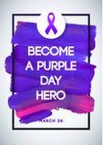 Purpurroter Tagesglobaler Tag des Epilepsiebewusstseins Schlagmann Violet Vector Illustration White Background Vervollkommnen Sie Stockbilder