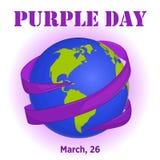 Purpurroter Tageshintergrund mit Band um Kugel in der Karikaturart für Weltepilepsie-Tag Auch im corel abgehobenen Betrag Lizenzfreie Stockfotos