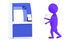 purpurroter Technikercharakter ATM-3d Lizenzfreie Stockfotografie