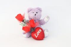 Purpurroter Teddybär und rote Rosen Stockfoto