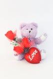 Purpurroter Teddybär und rote Rosen Stockbilder