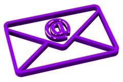 Purpurroter Umschlag mit Zeichen-E-Mail Lizenzfreie Stockbilder