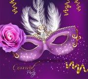 Purpurroter verzierter Maskenkarte Vektor realistisch Stilvolle Maskerade-Partei Mardi Gras-Karteneinladung Nachtparteiplakat lizenzfreie abbildung