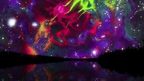 Purpurrotes Ölfarbe in der Wasseroberfläche Zeitlupe von Farbtropfen stock abbildung