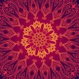 Purpurrotes abstraktes Muster mit Spitzeblumenverzierung Stockfoto