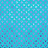 Purpurrotes blaues Hunde-Paw Metallic Foil Polka Dot-Tatzen-Muster stock abbildung