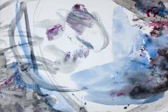 Purpurrotes graues rötliches des blauen Schwarzen des Aquarells Lizenzfreie Stockfotografie