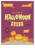 Purpurrotes Halloween-Plakat Stockfotos