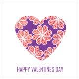 Purpurrotes Herz mit roten Blumen für Valentinsgruß-Tag,  Stockbilder