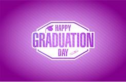 purpurrotes Kartenzeichen des glücklichen Graduierungstags Lizenzfreies Stockfoto