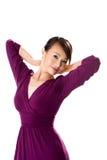 Purpurrotes Kleid-Asiat-Mädchen Stockfotos