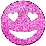 purpurrotes lächelndes Gesicht, das mit Herz-förmigen Augen glänzt Stockbilder