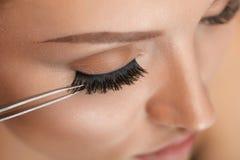 Purpurrotes Make-up und bunte helle Nägel Frau, die schwarze falsche Wimpern mit Pinzette anwendet stockfotografie